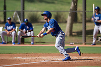 Los Angeles Dodgers infielder Brandon Montgomery (11) follows through on his swing during an Instructional League game against the Chicago White Sox on September 30, 2017 at Camelback Ranch in Glendale, Arizona. (Zachary Lucy/Four Seam Images)