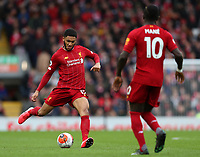 7th March 2020; Anfield, Liverpool, Merseyside, England; English Premier League Football, Liverpool versus AFC Bournemouth; Joe Gomez of Liverpool passes the ball