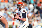 24 October 2015: Virginia quarterback Matt Johns (15). The University of North Carolina Tar Heels hosted the University of Virginia Cavaliers at Kenan Memorial Stadium in Chapel Hill, North Carolina in a 2015 NCAA Division I College Football game. UNC won the game 26-13.