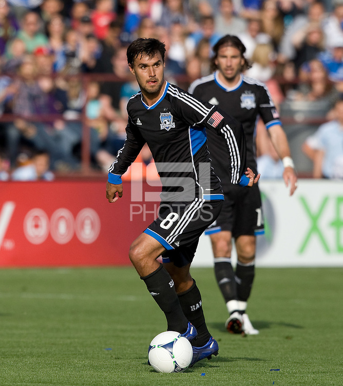 Chris Wondolowski of Earthquakes in action during the game against Whitecaps at Buck Shaw Stadium in Santa Clara, California on April 7th, 2012.  San Jose Earthquakes defeated Vancouver Whitecaps, 3-1.
