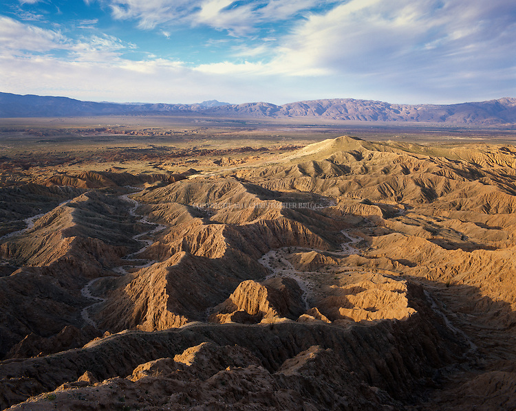 Borrego Badlands viewed from Font's Point. Anza-Borrego Desert State Park (Est. May 1948), largest state park in California 600,000 acres (2,400 km2); second-largest in continental US. Five hundred miles of dirt roads, 12 wilderness areas. Park named for Spanish explorer Juan Bautista de Anza and the Spanish word borrego, or bighorn sheep. San Diego County, CA.