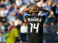 Brandon McDonald of Earthquakes reacts after missing a goal during the first half of the game against the Crew at Buck Shaw Stadium in Santa Clara, California.  San Jose Earthquakes tied Columbus Crew, 2-2.