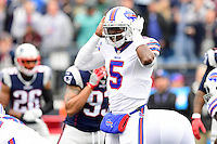Sunday, October 2, 2016: Buffalo Bills quarterback Tyrod Taylor (5) calls a play during the NFL game between the Buffalo Bills and the New England Patriots held at Gillette Stadium in Foxborough Massachusetts. Buffalo defeats New England 16-0. Eric Canha/Cal Sport Media