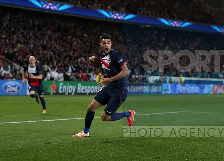 PSG's Javier Pastore celebrates scoring his sides third goal<br /> <br /> Paris Saint Germain vs Chelsea - Champions League - Parc Des Princes- Paris - France - 02/03/2014  - Pic David Klein/Sportimage