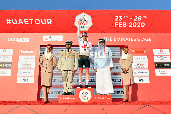 Tadej Pogacar (SLO) UAE Team Emirates takes over the White Jersey at the end of Stage 3 The Emirates Stage of the UAE Tour 2020 running 184km from Al Qudra Cycle Track to Jebel Hafeet, Dubai. 25th February 2020.<br /> Picture: LaPresse/Massimo Paolone | Cyclefile<br /> <br /> All photos usage must carry mandatory copyright credit (© Cyclefile | LaPresse/Massimo Paolone)