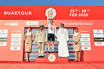 Tadej Pogacar (SLO) UAE Team Emirates takes over the White Jersey at the end of Stage 3 The Emirates Stage of the UAE Tour 2020 running 184km from Al Qudra Cycle Track to Jebel Hafeet, Dubai. 25th February 2020.<br /> Picture: LaPresse/Massimo Paolone   Cyclefile<br /> <br /> All photos usage must carry mandatory copyright credit (© Cyclefile   LaPresse/Massimo Paolone)