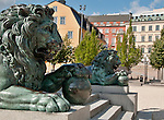 Lions on a monument in the Kungstrad-garden in Stockholm, Sweden