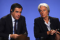 July 16, 2010 - Tokyo, Japan - (L-R) French Prime Minister François Fillon and French Economy Minister Christine Lagarde talk during the conference 'What Future for Europe and the Euro' in Tokyo, Japan, on July 16, 2010. Fillon and Lagarde are on a two-day visit in Tokyo and during their stay they will meet Japan Prime Minister Naoto Kan and members of the business community.