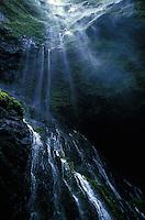Graceful headwaters of the Wailua River, below Mount Waialeale. Island of Kauai