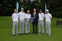 Eamon O'Connor Chairman Ulster Golf presents Colm Campbell Team Manager with the penant for winning the final of the AIG Barton Shield Ulster region pictured with team Stevie Colter, Paul Reavey, Ryan Gribben and Colm Campbell at Moyola Park Golf Club, Belfast, Northern Ireland. 27/08/2017<br />