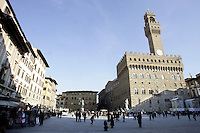 Veduta di Piazza Signoria, con Palazzo Vecchio sulla destra, a Firenze.<br /> View of Piazza della Signoria, with Palazzo Vecchio at right, in Florence.<br /> UPDATE IMAGES PRESS/Riccardo De Luca