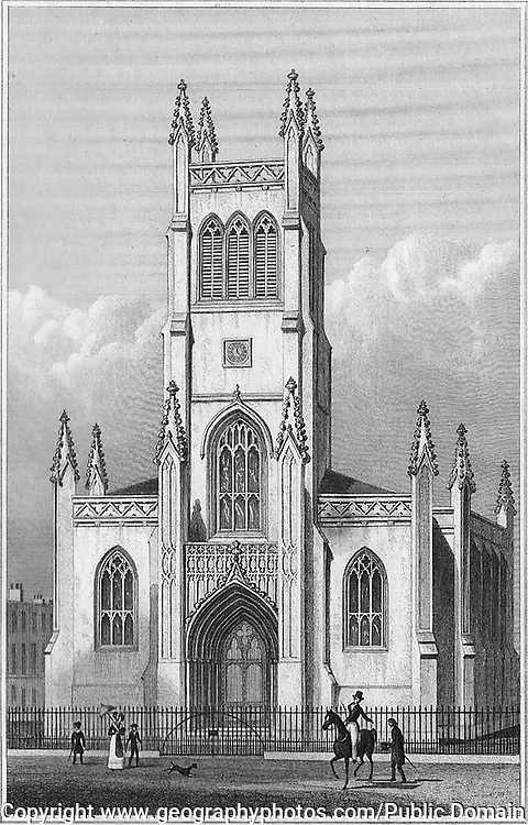 Saint Mark the Evangelist church Pentonville, engraving from 'Metropolitan Improvements, or London in the Nineteenth Century' London, England, UK 1828 , drawn by Thomas H Shepherd