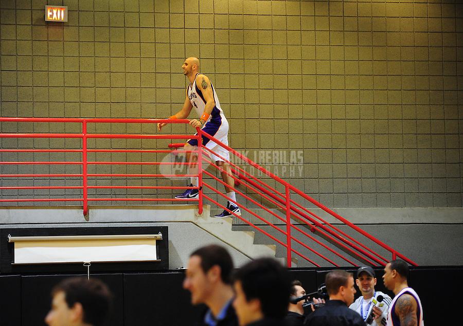 Dec. 16, 2011; Phoenix, AZ, USA; Phoenix Suns forward Marcin Gortat during media day at the US Airways Center. Mandatory Credit: Mark J. Rebilas-