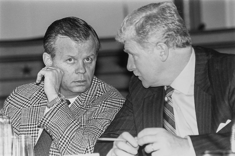 Rep. Tony P. Hall, D-Ohio, with Rep. Jim Moran, D-Va., at Select Committee on Hunger Round Table meeting on March 7, 1993. (Photo by Maureen Keating/CQ Roll Call via Getty Images)