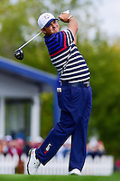 Patrick Reed (USA) watches his tee shot on 12 during the practice round at the Ryder Cup, Hazeltine National Golf Club, Chaska, Minnesota, USA.  9/29/2016<br /> Picture: Golffile | Ken Murray<br /> <br /> <br /> All photo usage must carry mandatory copyright credit (&copy; Golffile | Ken Murray)