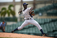 GCL Rays pitcher Sandy Brito (26) delivers a pitch during the first game of a doubleheader against the GCL Orioles on August 1, 2015 at the Ed Smith Stadium in Sarasota, Florida.  GCL Orioles defeated the GCL Rays 2-0.  (Mike Janes/Four Seam Images)