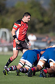 Referee Antony Petrie watches as the forward packs engage at a scrum. Counties Manukau Premier Club Rugby 'Game of the Week' between Ardmore Marist and Manurewa played at Bruce Pulman Park Papakura or Saturday May 4th 2019. Ardmore Marist won the game 34 - 25 after leading 21 - 6 at halftime. <br />