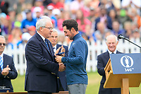 Alfie Plant (ENG) being presented with his silver medal  for best amateur after the final round of The Open Championship 146th Royal Birkdale, Southport, England. 23/07/2017.<br /> Picture Fran Caffrey / Golffile.ie<br /> <br /> All photo usage must carry mandatory copyright credit (&copy; Golffile | Fran Caffrey)