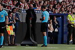 The referee Cuadra Fernandez views the VAR during La Liga match between Atletico de Madrid and Getafe CF at Wanda Metropolitano Stadium in Madrid, Spain. August 18, 2019. (ALTERPHOTOS/A. Perez Meca)