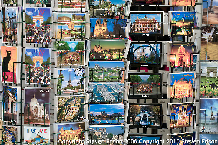 Postcard Rack in Paris, France