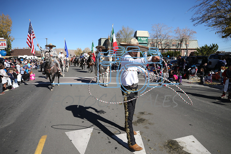 The Charros Y Vaqueros Del Norte De Nevada float moves down Carson Street in the 79th Nevada Day parade in Carson City, Nev., on Saturday, Oct. 28, 2017. <br /> Photo by Cathleen Allison/Nevada Momentum