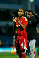 8th February 2020; Ewood Park, Blackburn, Lancashire, England; English Football League Championship Football, Denis Odoi of Fulham applauds the travelling Fulham fans after his side earned a 1-0 win