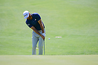 Dustin Johnson (USA) chips on 5 during round 5 of the World Golf Championships, Dell Technologies Match Play, Austin Country Club, Austin, Texas, USA. 3/25/2017.<br /> Picture: Golffile | Ken Murray<br /> <br /> <br /> All photo usage must carry mandatory copyright credit (&copy; Golffile | Ken Murray)