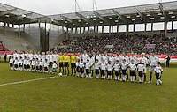 Offenbach, Germany, Friday, April 05 2013: Womans, Germany vs. USA, in the Stadium in Offenbach,   Team GERMANY and USA during the National Anthems...