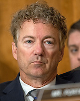 """United States Senator Rand Paul (Republican of Kentucky) listens as US Secretary of State Mike Pompeo appears before the  to """"Review  the FY 2019 State Department budget request"""" on Capitol Hill in Washington, DC on Thursday, May 24, 2018.  Prior to delivering his prepared remarks, Secretary Pompeo read a letter from US President Donald J. Trump to North Korean leader Kim Jong-un cancelling their planned summit in Singapore on June 12, 2018<br /> Credit: Ron Sachs / CNP /MediaPunch"""