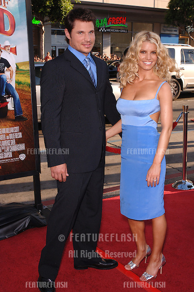 Actress/pop star JESSICA SIMPSON & husband pop star NICK LACHEY at the Los Angeles premiere of her new movie The Dukes of Hazzard..July 28, 2005 Los Angeles, CA.© 2005 Paul Smith / Featureflash
