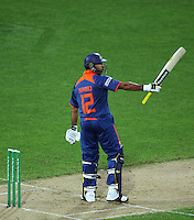 India's Yuvrag Singh celebrates his half century during 2nd Twenty20 cricket match match between New Zealand Black Caps and West Indies at Westpac Stadium, Wellington, New Zealand on Friday, 27 February 2009. Photo: Dave Lintott / lintottphoto.co.nz
