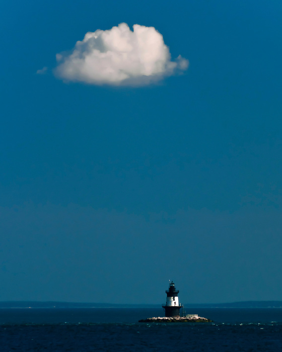 Orient Point  Lighthouse and the Cloud - Long Island Sound on a Beautiful Summer Day