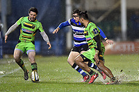 Ben Foden of Northampton Saints and Darren Atkins of Bath Rugby compete for the ball. Anglo-Welsh Cup Semi Final, between Bath Rugby and Northampton Saints on March 9, 2018 at the Recreation Ground in Bath, England. Photo by: Patrick Khachfe / Onside Images