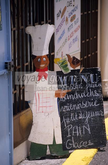 Europe/France/DOM/Antilles/Petites Antilles/Guadeloupe/Malendure : Porte-menu d'un restaurant