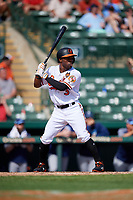 Baltimore Orioles center fielder Cedric Mullins (3) at bat during a Grapefruit League Spring Training game against the Tampa Bay Rays on March 1, 2019 at Ed Smith Stadium in Sarasota, Florida.  Rays defeated the Orioles 10-5.  (Mike Janes/Four Seam Images)