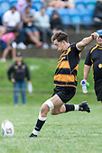 Tim Cossens kicks a conversion. Counties Manukau Premier Counties Power Club Rugby Round 4 game between Bombay and Manurewa, played at Bombay on Saturday March 31st 2018. <br /> Manurewa won the game 25 - 17 after trailing 15 - 17 at halftime.<br /> Bombay 17 - Ki Anufe, Chay Macwood tries, Tim Cossens, Ki Anufe conversions,  Ki Anufe penalty. <br /> Manurewa Kidd Contracting 25 - Peter White 2 , Willie Tuala 2 tries, James Faiva conversion,  James Faiva penalty.<br /> Photo by Richard Spranger.