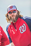 9 March 2013: Washington Nationals outfielder Jayson Werth awaits his turn in the batting cage prior to a Spring Training game against the Miami Marlins at Space Coast Stadium in Viera, Florida. The Nationals edged out the Marlins 8-7 in Grapefruit League play. Mandatory Credit: Ed Wolfstein Photo *** RAW (NEF) Image File Available ***