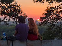 Abendstimmung, Blick von Festung auf Sava,  Belgrad, Serbien, Europa<br /> watch&iacute;ng the Sunset in the fortress Kalemegdan,  Belgrade, Serbia, Europe