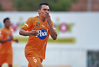 ENVIGADO -COLOMBIA, 18-10-2018: Wilfrido de la Rosa jugador de Envigado FC celebra después de anotar un gol a Deportivo Pasto durante partido por la fecha 15 de la Liga Águila II 2018 realizado en el Polideportivo Sur de la ciudad de Envigado. / Wilfrido de la Rosa player of Envigado FC celebrates after scoring a goal to Deportivo Pasto during match for the date 15 of the Aguila League II 2018 played at Polideportivo Sur in Envigado city.  Photo: VizzorImage/ León Monsalve / Cont