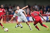Jonathan Smith of Luton Town (4) and Andre Blackman of Crawley Town (14)  during the Sky Bet League 2 match between Crawley Town and Luton Town at the Broadfield/Checkatrade.com Stadium, Crawley, England on 17 September 2016. Photo by Edward Thomas / PRiME Media Images.