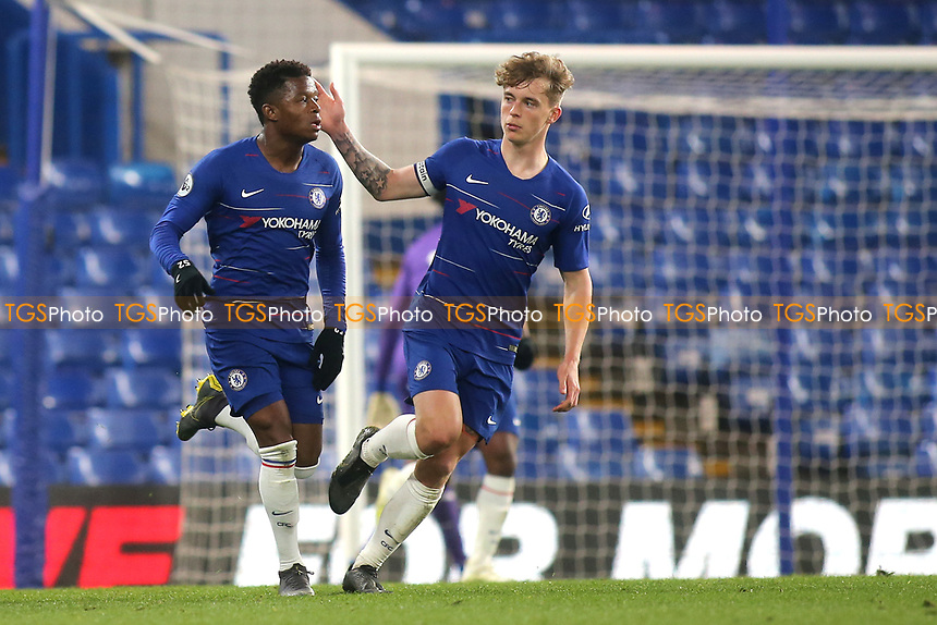 Luke McCormick of Chelsea congratulates Daishawn Redan after scoring Chelsea's opening goal during Chelsea Under-23 vs Arsenal Under-23, Premier League 2 Football at Stamford Bridge on 15th April 2019