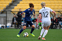 Japan&rsquo;s Rin Sumida in action during the  International Football - Football Ferns v Japan  at Westpac Stadium, Wellington, New Zealand on Sunday 10 June 2018.<br /> Photo by Masanori Udagawa. <br /> www.photowellington.photoshelter.com