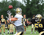 Jeremy Shockey of the New Orleans Saints awaits a pass during Saints training camp.