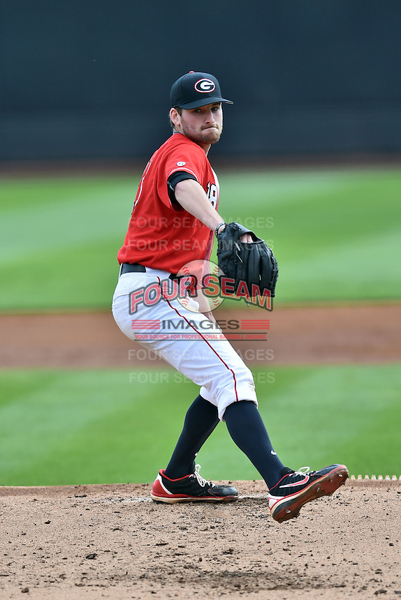 Georgia Bulldogs starting pitcher Ryan Lawlor (5) delivers a pitch during a game against the Tennessee Volunteers at Lindsey Nelson Stadium March 21, 2015 in Knoxville, Tennessee. The Bulldogs defeated the Volunteers 12-7. (Tony Farlow/Four Seam Images)