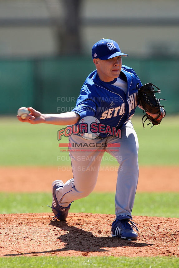 February 26, 2010:  Pitcher Matt Singer of the Seton Hall Pirates during the Big East/Big 10 Challenge at Raymond Naimoli Complex in St. Petersburg, FL.  Photo By Mike Janes/Four Seam Images
