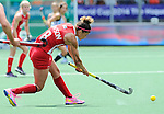 The Hague, Netherlands, June 14: Rachel Dawson #8 of USA passes the ball during the field hockey bronze medal match (Women) between USA and Argentina on June 14, 2014 during the World Cup 2014 at Kyocera Stadium in The Hague, Netherlands. Final score 2-1 (2-1)  (Photo by Dirk Markgraf / www.265-images.com) *** Local caption ***
