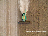 63801-09401 Soybean Harvest, John Deere combine harvesting soybeans - aerial - Marion Co. IL