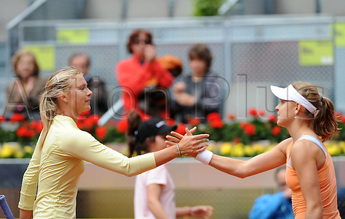 09 05 2010   Madrid Lucia Safarova of Czech Shakes Hands with Maria Sharapova of Russia After their First Round Match AT The Madrid WTA Tennis Open in Madrid Spain ON May 9 2010 Safarova Won 2 0