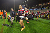 Augustine Pulu leads the Steelers out on to the field for the Mitre 10 Cup rugby game between Counties Manukau Steelers and Auckland played at ECOLight Stadium, Pukekohe on Saturday August 19th 2017. Counties Manukau Stelers won the game 16 - 14 and retain the Dan Bryant Memorial trophy.<br /> Photo by Richard Spranger.