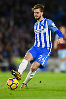 Davy Propper of Brighton & Hove Albion (24)  during the EPL - Premier League match between Brighton and Hove Albion and Burnley at the American Express Community Stadium, Brighton and Hove, England on 16 December 2017. Photo by Edward Thomas / PRiME Media Images.